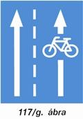 Nyitott kerékpársáv útjelző tábla