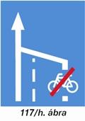 Nyitott kerékpársáv végét jelző tábla - új KRESZ