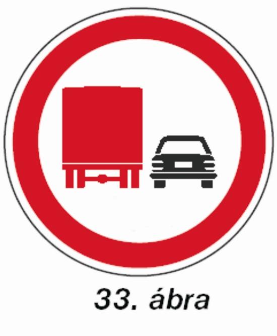 Tehergépjárművel előzni tilos tábla