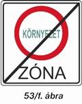Környezetvédelmi zóna végét jelző tábla